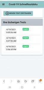 Schnelltest App mobil